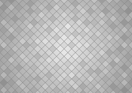 Squared Tiled Background in Gray Tones - Mosaic Background with Edge Details, Decorative Vector Illustration
