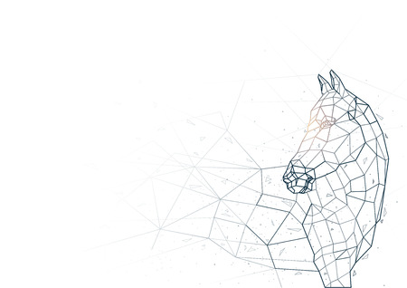 Abstract Horse from Low Poly Wireframe Isolated on White Background - Polygonal Image Mash Line Structure, Vector Illustration