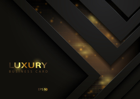 Dark Abstract Tech Background with Golden Elements - Detailed Graphic Illustration with Dark Geometric Shapes and Golden Decoration, Vector
