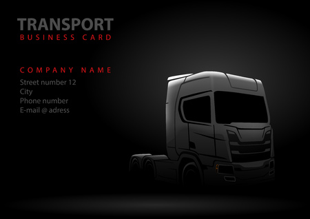 Drawing of Truck Silhouette on Black Background - Abstract Illustration for Graphic Design, Business Card, Flyer and More