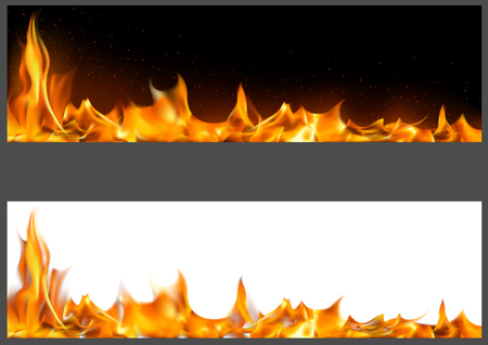 Realistic Fire Flames on Banners - Two Graphic Variants with Black and White Backgrounds, Vector Illustration
