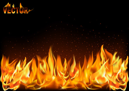 Realistic Fire Flames on Black Background - Detailed Illustration for Your Graphic Projects, Vector Ilustrace