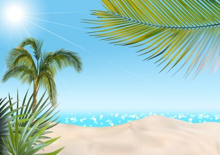 Summer Beach with Palms and Sea Background - Colored Illustration, Vector