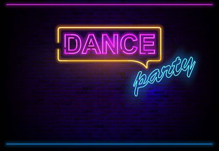 Neon Light Dance Party on Brick Wall Background with Glowing Colored Effects - Illustration, Vector Archivio Fotografico - 126120575