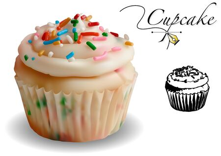 Cupcake 3D Vector Set - Photorealistic Illustration with Black and White Icon