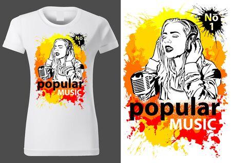 T-shirt Design Popular Music with Girl Singer Sketch on Colorful Splashes - Abstract Illustration for Young Ladies, Vector
