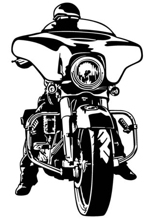 Motorcyclist Front View - Black and White Outline Illustration with Rider on Harley Motorcycle, Vector Illustration
