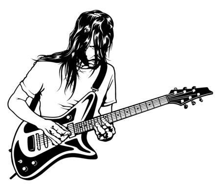 The Rock Guitarist Plays Solo - Black and White Drawing Illustration with Musician, Vector Graphic
