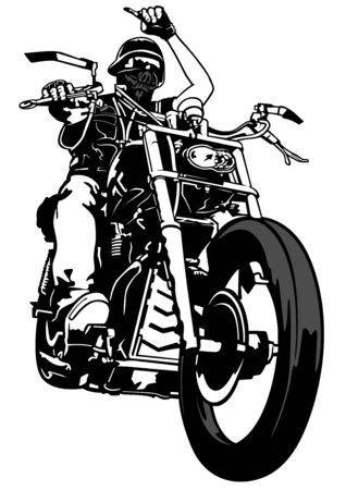 Motociclista de Gang - Ilustración de contorno blanco y negro con piloto en motocicleta, Vector Ilustración de vector