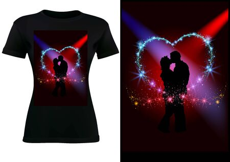 Black T-shirt Design with Silhouetted Couple in Glittering Heart - Colorful Abstract Illustration, Vector Graphic