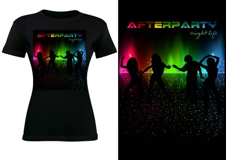 Design of Black T-shirt with Abstract Colorful Sound Wave and dancing Silhouetted People - Modern Fashion Illustration, Vector Graphic
