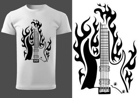 T-shirt with Black and White Motif of Burning Electric Guitar - Design Illustration for Rock Fans, Vector Graphic