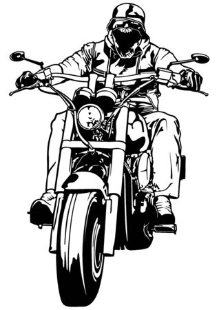 Motorcyclist From Gang - Black and White Outline Illustration with Rider on Motorcycle, Vector