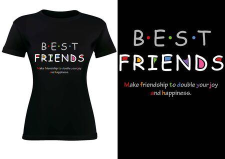 T-shirt nera da donna Design con scritta BEST FRIENDS e Slogan - Illustrazione di moda su sfondo bianco, Vector Vettoriali