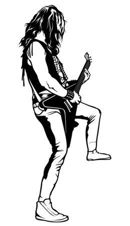 The Hard Rock Guitarist plays solo - Black and White Drawing Illustration with Musician, Vector Graphic
