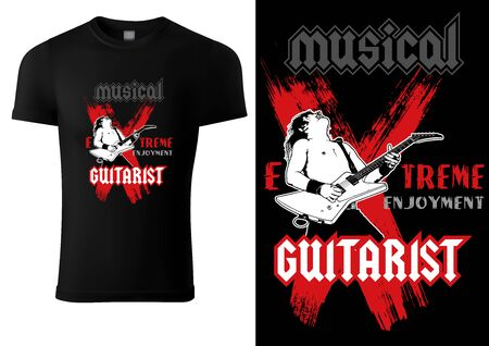Black T-shirt with Hard Rock Guitarist - Graphic Illustration for Printing or Wallpaper and etc., Vector