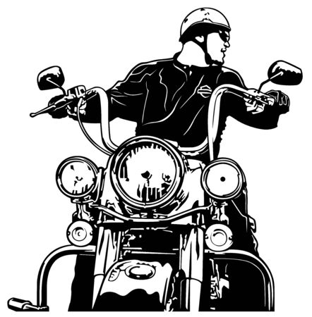 Motorcyclist Front View - Black and White Illustration with Rider on Motorcycle, Vector