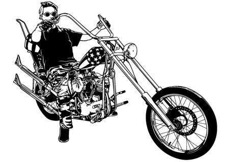 Motociclista su Chopper - Illustrazione in bianco e nero con pilota su moto, Vector Vettoriali