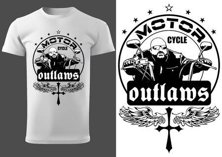 Diseño de camiseta blanca con motociclista e inscripciones - Diseño gráfico para estampado de camisetas o póster y etc., Vector Ilustración de vector