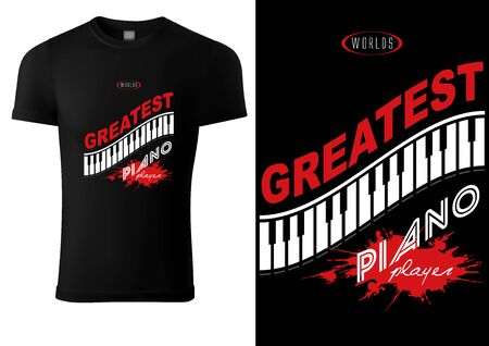 Black T-shirt Design with Piano Keyboard and Inscriptions - Colored Illustration, Vector