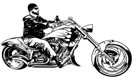 Motociclista su moto dal profilo - illustrazione in bianco e nero con motociclista su moto, vettore