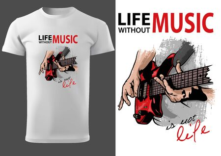 White T-shirt Design with Drawing of Electric Guitar - Colored Illustration for Various Uses, Vector Graphic