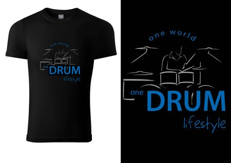 Black T-shirt with Abstract Drummer and Drums - Graphic Sketch Illustration for Printing or Wallpaper and etc., Vector
