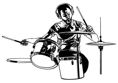 Drummer Sketch Drawing - Graphic Illustration for Printing or Wallpaper and etc., Vector