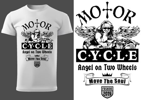 White T-shirt Design with Motorcyclist Woman and Inscriptions - Graphic Design for Printmaking T-shirt or Poster and etc., Vector Stockfoto - 131117399