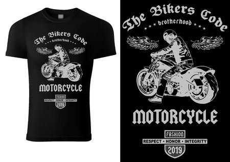 Black T-shirt Design with Motorcyclist and Inscriptions - Graphic Design for Printmaking T-shirt or Poster and etc., Vector Stockfoto - 131236068