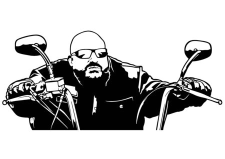 Motorcyclist Front View - Black and White Outline Illustration with Rider on Motorcycle, Vector