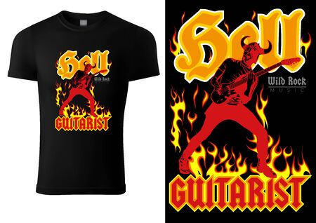 Black T-shirt with Hard Rock Guitarist and Flaming Inscriptions - Graphic Illustration for Printing or Wallpaper and etc., Vector