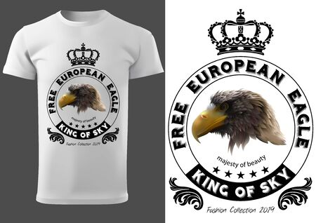 White T-shirt Design with Eagle Head and Royal Crown with Circle Graphic Element and Inscriptions - Fashion Print Illustration, Vector Graphic