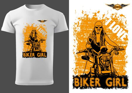 White T-shirt Design with Motorcyclist Woman and Inscriptions - Graphic Design for Printmaking T-shirt or Poster and etc., Vector Stockfoto - 131117555