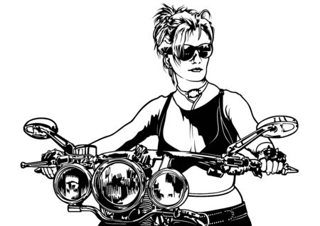 Woman Motorcyclist - Black and White Sketch Illustration with Female Rider on Motorcycle, Vector Illustration