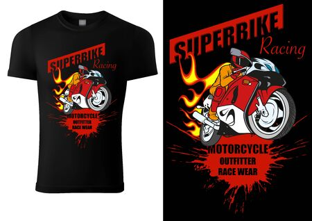 Black T-shirt Design with Motorcyclist and Inscriptions - Graphic Design for Printmaking T-shirt or Poster and etc., Vector Stockfoto - 131117571