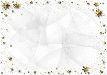 White Christmas Background with Golden Stars and Shadows and White Snowflakes - Graphic Design for Xmas Greetings and etc., Vector