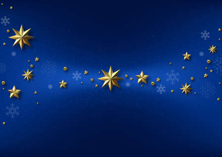 Blue Christmas Background with Golden Stars with Shadows and Blue Snowflakes - Graphic Design for Xmas Greetings and etc., Vector 矢量图像