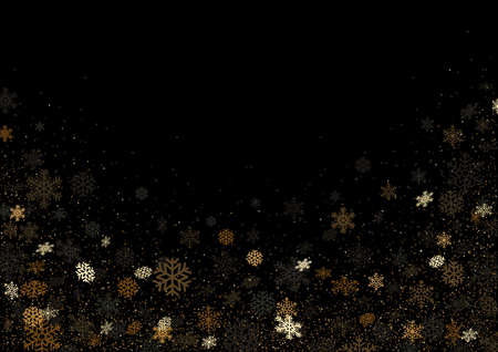 Black Background with Falling Golden Snowflakes - Graphic Design for Christmas Greetings and etc., Vector
