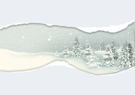 Christmas Background with Winter Snowy Landscape with Falling Snow and Flocked Evergreen Trees under Torn Paper - Illustration, Vector