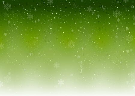 Green Xmas Winter Background with Falling Snowflakes - Abstract Snowfall Illustration, Vector