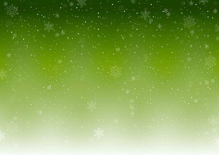 Sfondo invernale di Natale verde con fiocchi di neve che cadono - Illustrazione astratta di precipitazioni nevose, Vector