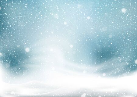 Winter Snow Storm Background - Abstract Illustration with Winter Landscape with Falling Christmas Shining Beautiful Snow, Vector Çizim