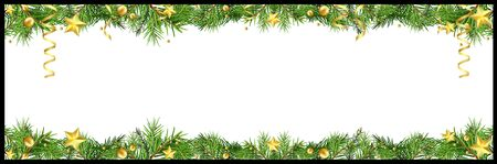 Christmas Banner with Green Coniferous Twigs and Golden Stars with Golden Confetti and Golden Balls on White Background - Colored Illustration, Vector