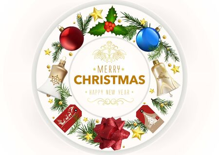 Modern Christmas Greeting Card with Xmas Ornaments - Holiday Illustration with Colorful Ornaments in a Circular Arrangement on White Background, Vector
