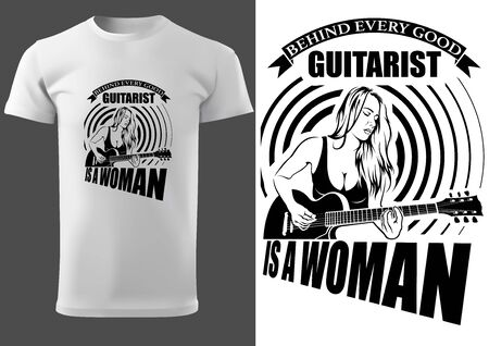 T-shirt with Woman Guitarist and Inscriptions - Black and White Illustration for Musicians and Fans, Vector Stock Illustratie