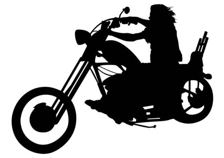 Silhouetted Motorcyclist on Chopper - Black and White Illustration with Rider on Motorcycle, Vector Ilustração
