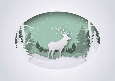 Wintry Paper Art Xmas Greeting with Deer in Forest - Festive Background Illustration with Layered Winter Landscape, Vector