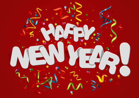Happy New Year Greeting Card with Colorful Confetti on Red Background - White Inscription with Shadows in Modern Abstract Illustration, Vector 免版税图像 - 157202626