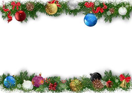 Sfondo di Natale con rami decorati di albero di Natale - ramoscelli verdi innevati con palline di Natale colorate su sfondo bianco, illustrazione vettoriale